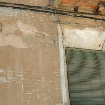 Detalle del revestimiento de la fachada lateral